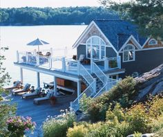 my lake house! Boathouse On The Lake // Photographer Angus Fergusson // House & Home July 2006 issue Lake Life, Dream Vacations, My Dream Home, Future House, Beautiful Homes, House Beautiful, Sweet Home, House Design, Patio