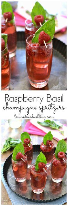 Raspberry Basil Champagne Spritzers | Lemon Tree Dwelling