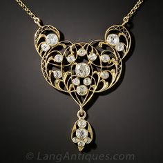 Edwardian Diamond Lavaliere Necklace - Vintage Jewelry