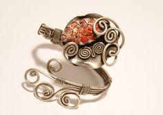jasper bracelet-red jasper cuff bracelet -wire wrapped jewelry handmade-Adjustable bracelet-silver bracelet in handmade-wire jewelry by BeyhanAkman on Etsy https://www.etsy.com/listing/154081010/jasper-bracelet-red-jasper-cuff-bracelet