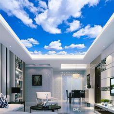 New Living Room Modern Open Ceilings 58 Ideas - Schlafzimmer Cloud Ceiling, Roof Ceiling, Open Ceiling, Ceiling Murals, 3d Wallpaper Blue, 3d Wallpaper Ceiling, Cloud Wallpaper, Bedroom Wallpaper, Trendy Wallpaper