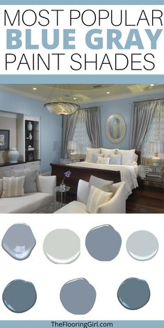 My favorite dusty blues. Chic and soothing bluish gray paint shades for a trendy and relaxing home. These tranquil paint colors will transform your home and how you feel in it. Bluish Gray Paint, Blue Gray Paint Colors, Wall Paint Colors, Bedroom Paint Colors, Paint Colors For Living Room, Paint Colors For Home, Living Room Grey, House Colors, Blue Paint For Bedroom