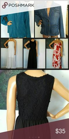 Size XL dress jacket lot floral maxi button zip All are womens size XL great condition   3 dresses 2 jackets Dresses Maxi
