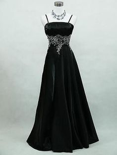 CHERLONE Satin Black Ball Gown