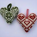 Scandinavian Fairisle Knitted Lavender Hearts