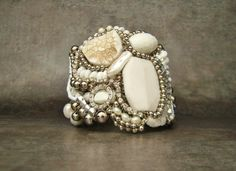 Handmade White Cuff Bracelet with Semiprecious Stones and Rhinestones-4036b Luxury Gifts for Women by Sharona Nissan (Limited Edition)