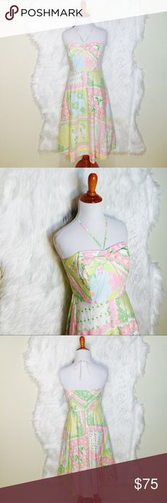 """4th of July SaleLilly Pulitzer Floral Halter D9-Beautiful A line shape that draw the attention to your shoulder and neck with a halter style. Flat across @ Bust: 15.5"""", Flat across @ waist 14"""".  Top shoulder to bottom hem: 34"""". Worn once- excellent condition (missing belt). White tag Lilly Pulitzer Dresses Midi"""
