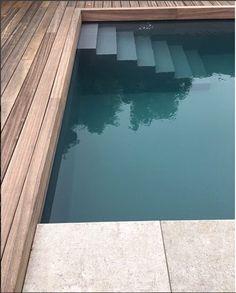 Above Ground Pool, In Ground Pools, Swimming Pool Designs, Swimming Pools, Backyard Patio, Backyard Landscaping, Farm Pond, Pool Steps, Diy Pool