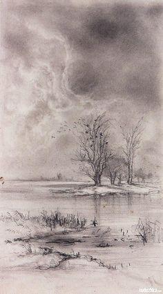 Весенний пейзаж. Ростепель, 1888-1890