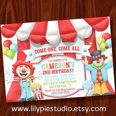Circus Carnival Theme Birthday Invitation By Lilypiestudio On Etsy