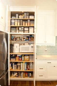 Microwave in pantry microwave in pantry dream house kitchen microwave pantry alcove . Pantry Storage Cabinet, Small Pantry Organization, Pantry Shelving, Kitchen Pantry Cabinets, Kitchen Tops, Kitchen And Bath, Organizing, Organized Pantry, Shoe Storage