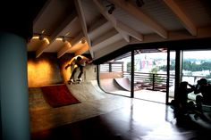 The RampHouse. who doesn't want to skate in their own living room. I do like the ceiling hight and the exposed beams. Plenty of room for floating big airs without taking your head off.