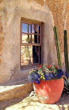 Tanque Verde Ranch, located on 640 beautiful acres east of Tucson Arizona, adjacent to the Saguaro National Park (East), and the Coronado National Forest. Southwest Decor, Southwest Style, Southwestern Art, Vibeke Design, Santa Fe Style, Adobe House, Land Of Enchantment, Tucson Arizona, Window Boxes