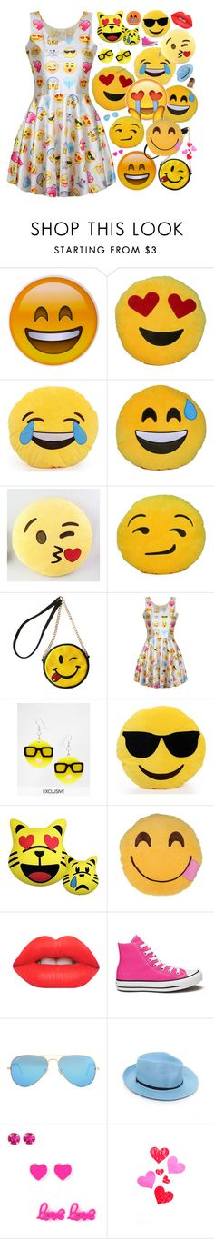 """💎Emojis💎"" by lexi-loves-fashion ❤ liked on Polyvore featuring OLIVIA MILLER, Tatty Devine, Iscream, Lime Crime, Converse, Ray-Ban, Bristols6 and Forever 21"