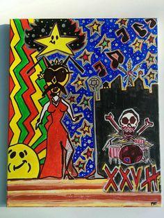 Singing Bee 16x20 Canvas Acrylic Weird Trippy Dream by LunasNook
