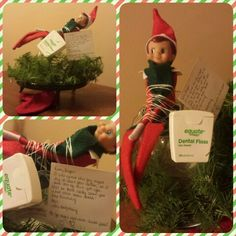 Elf on the Shelf vs. Tooth Fairy. The note reads: Dear Taegan, I was afraid this guy might try to steal your dollar so I took care of him for you. I'll be back really soon for that other loose tooth! Keep brushing! P.S. - you might need more dental floss!