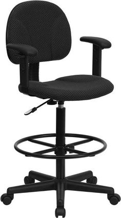 Black Patterned Fabric Multi-Functional Ergonomic Drafting Stool with Arms (Adjustable Range 26''-30.5''H or 22.5''-27''H) BT-659-BLK-ARMS-GG by Flash Furniture