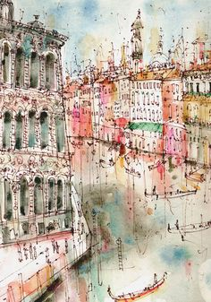 Gallery — Clare Caulfield - UK Artist and Printmaker Watercolor Drawing, Watercolor Landscape, Watercolor Paintings, Watercolours, Architecture Artists, Watercolor Architecture, Landscape Architecture, Grand Canal, Tinta China