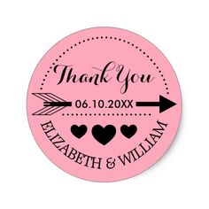 Pink Black Thank You Arrow Hearts Wedding Stickers Send your warmest things with this customizable sticker design. It's sweet and stylish, and perfectly YOU. The sticker design features a sweet pink background, a black theme of hearts and arrows - and cursive, customizable fonts. This wedding sticker is a piece of art that will express your most heartfelt love with sweet sincerity. Go on! Get one more item checked off of your to-do list. Modify this sticker today and know that you're buying…