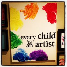 Picasso quote + letting your 9 month old fingerpaint = baby art MASTERPIECE! Perfect for toddler art project as well, so much fun!