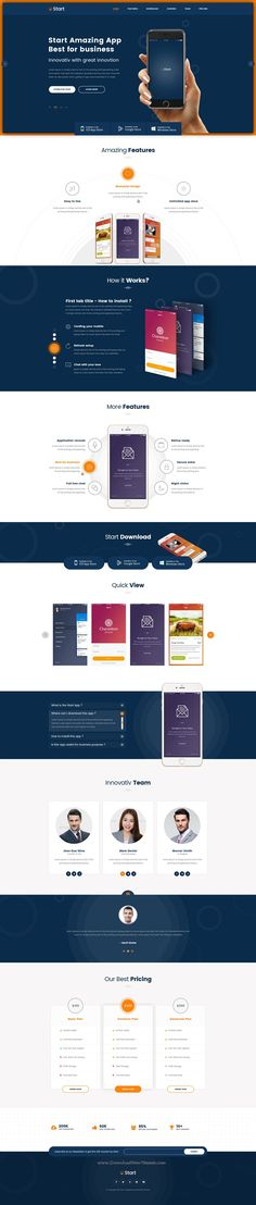 Start is One Page App Landing PSD Template to marketing and promote you #App…