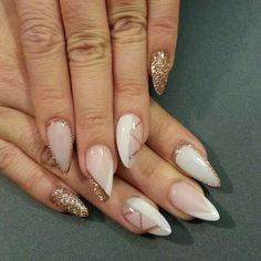 Beautiful unique almond glitters nail ideas design