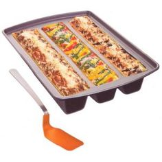 This smart lasagna pan features 3 separate nonstick channels which allows you to make three types of lasagna in the same pan