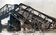 Attica, Indiana, Train Wreck, Wabash Railroad, Bridge - April 5, 1914.