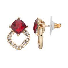 Dana Buchman Red Faceted Stone Openwork Marquise Earrings, Women's