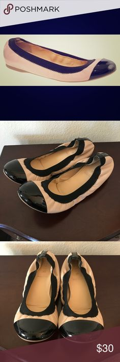 J. Crew Mila Ballet Flats Shoes 7 Cap-toe leather ballet flats in nude and black.  Scrunch/stretch style. In good preowned condition - very minor wear on the soles. J. Crew Shoes Flats & Loafers