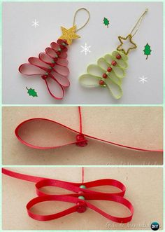 DIY Ribbon Christmas Tree Ornament Instruction-DIY Christmas Ornament Craft Ideas For Kids christmas ornaments for kids 20 Easy DIY Christmas Ornament Craft Ideas For Kids to Make Christmas Ribbon Crafts, Diy Gifts For Christmas, Xmas Crafts, Diy Christmas Ornaments, Christmas Decorations To Make, Handmade Christmas, Kids Ornament, Kids Christmas, Craft Decorations