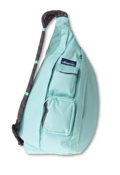 WANT PLEASE :-)   KAVU Rope Sling-Lagoon-100% Polyester. The KAVU Rope Bag's fraternal twin the only difference is the fabric. Adjustable rope shoulder strap, two vertical zip compartments, two zip key/phone pockets, padded back with KAVU embroidery and ergonomic design to fit the body like a bag should.