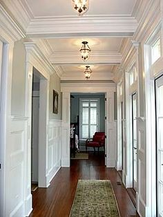 Tray ceilings make a hallway so much more interesting