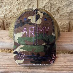 Army Wife Hat Camouflage Mesh Turcker Cap with by CapsbyKari caef717582a0