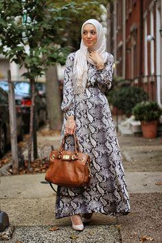 maxi dress, hijabi fashion, modest fashion, michael kors purse, hani hulu