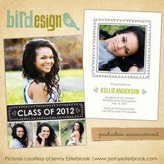 INSTANT DOWNLOAD  Graduation announcement  Photoshop by birdesign, $8.00
