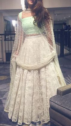 This type of pearl studded dupatta, and a white lace sharara