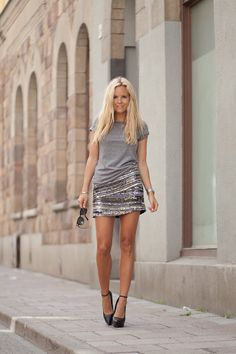 Sofi Fahrman  Grey tee with sequin mini!!! LOVE!!!!