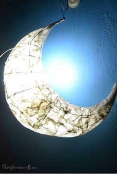 DIY tutorial for a Moon Lantern, using a simple wire frame & tissue paper.