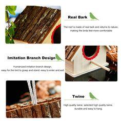 Creative Bird Nest Simulated Bark House Shape Bird Breeding Box Pet Toys Bird Cages, Pet Toys, Twine, Pet Supplies, Nest, Shapes, Box, Creative, House