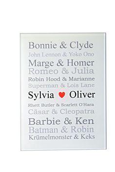 Witzige Geschenkidee zur Hochzeit. Berühmte Liebespaare auf A5 Acrylschild.
