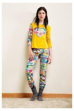Calças de pijama com riscas e flores | Desigual.com B