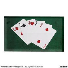 Poker Hands - Straight - Six To Two Table Card Holder