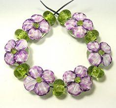 HANDMADE LAMPWORK Beads SET Sculpted Flowers Violet Purple Donna Millard spring summer garden