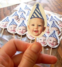 The one year old in a flash cupcake toppers I made.