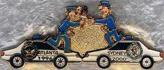 1996 Atlanta Police Passing Olympic Torch to 2000 Sydney Police Fantasy Pin Atlanta Police, Lapel Pins, Olympics, Sydney, China, Fantasy, Ebay, Fantasy Books, Fantasia