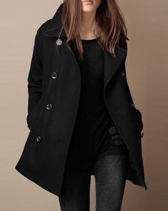 Chic Black Peacoat for Fall/Winter