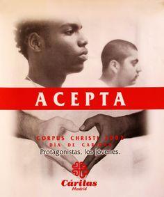 Cartel Campaña de Caridad 2002: ACEPTA. Protagonistas, los jóvenes.