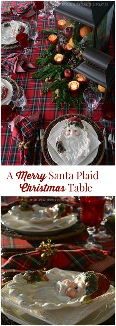A Merry Santa Plaid Christmas table with Royal Stewart Tartan, Santa plates and fruit, pine cone, and greenery filled lanterns | Home is Where the Boat Is #Christmas #tartan #table