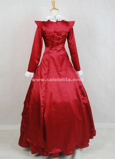 2016 New Elegant Red Long Sleeves Square Collar Bow Victorian Ball Gowns Party Costumes For Ladies